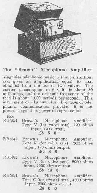 s g  brown electromechanical amplifier c  1924